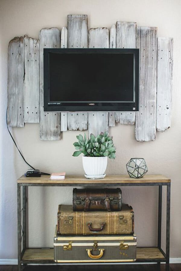 TV on reclaimed wood mount