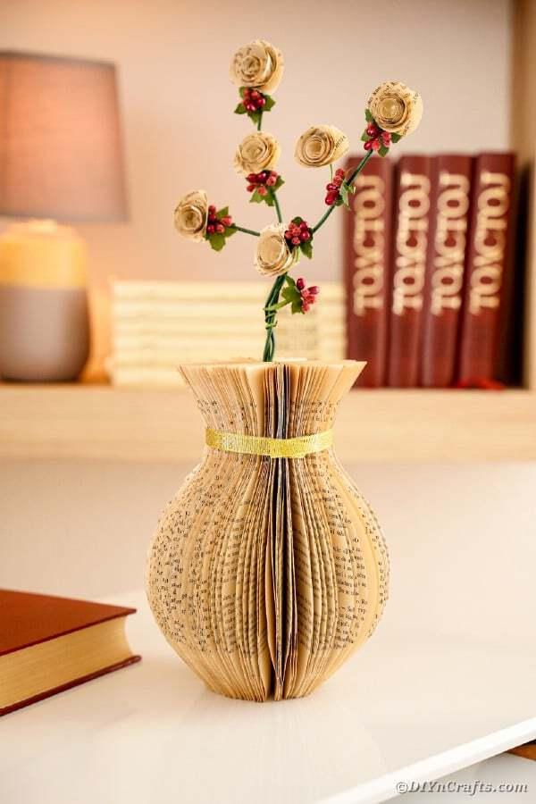 Old book vase