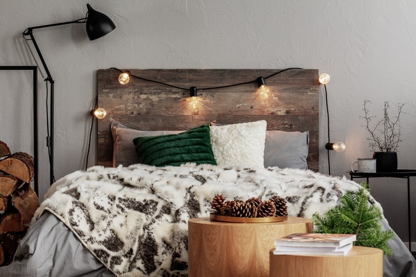 Edison lights on headboard