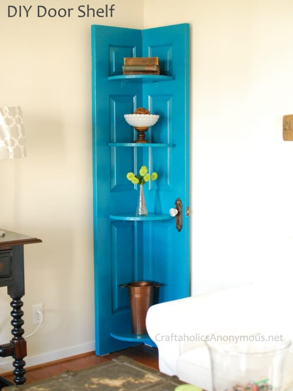 Teal door corner shelf