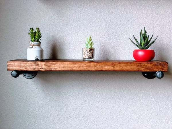Wood shelf with succulents