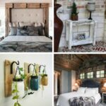Rustic bedroom decor collage