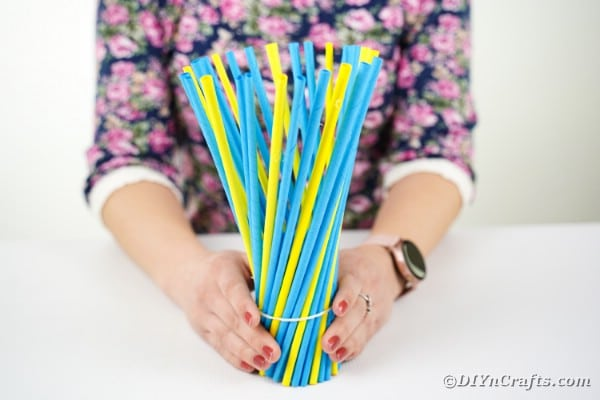 Vase with paper sticks