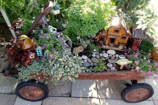Flowers in wagon