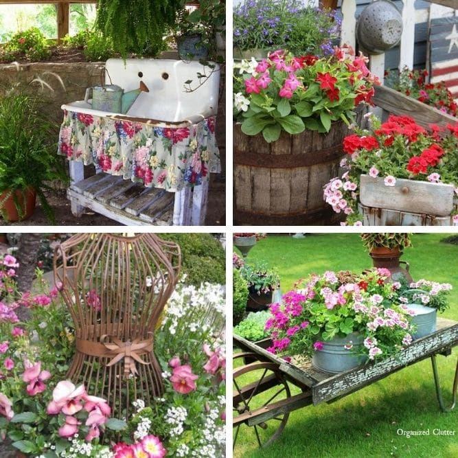 Vintage garden decor collage