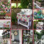 Vintage garden decor collage
