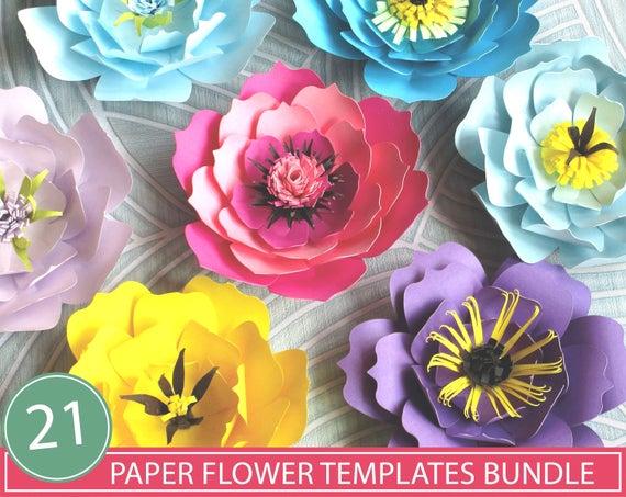 All 21 Paper Flower Templates SVG Paper Flowers SVG DIY   Etsy