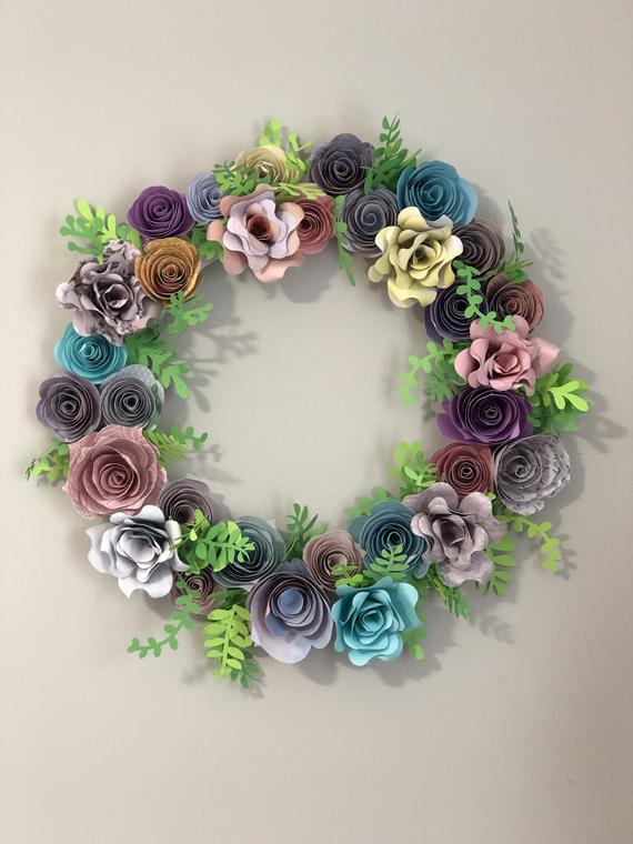 Handmade Paper Flower Wreath   Etsy