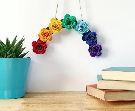 Paper Flower Rainbow Wall Hanging Window Rainbow 1st   Etsy