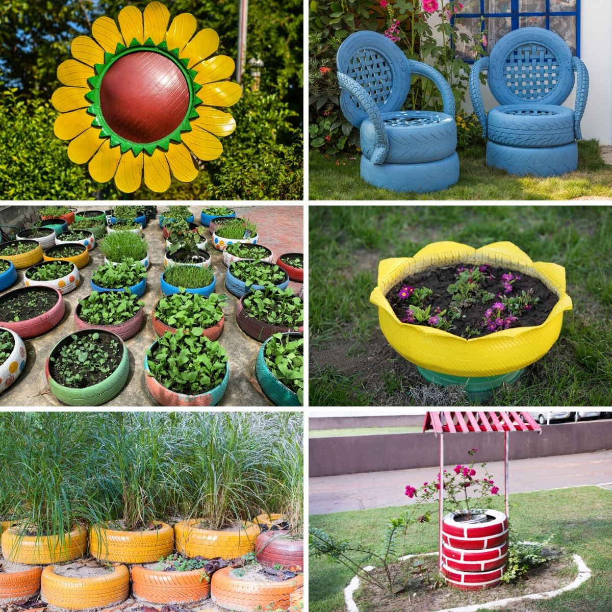Photo collage featuring old tire projects in the garden