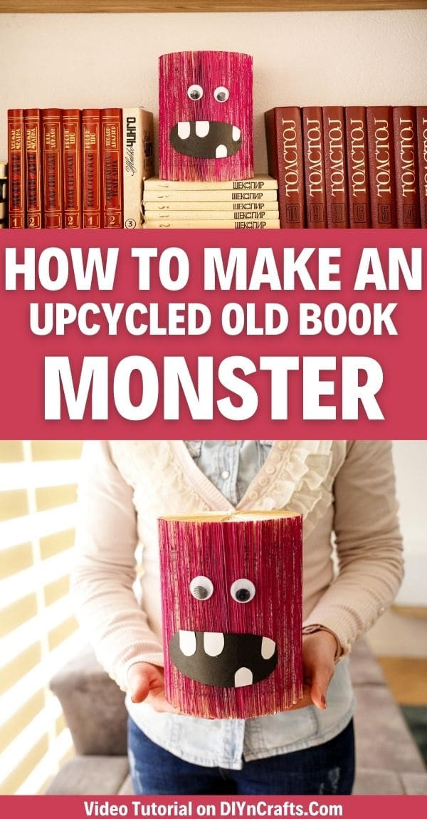 Old book monster decor collage