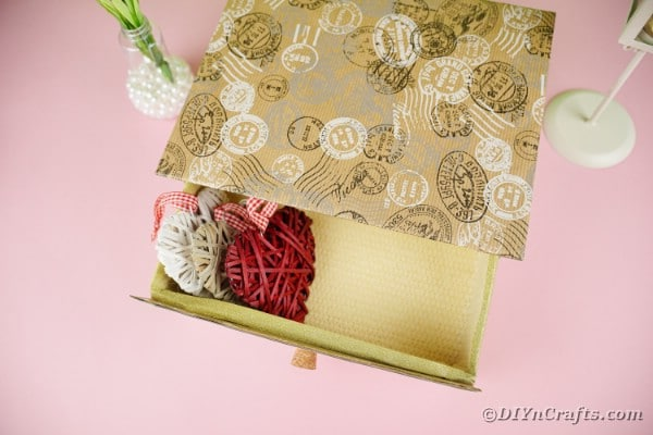Box drawer with heart sachets inside
