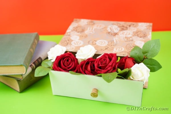 Box drawer filled with roses