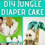 Jungle themed diaper cake collage