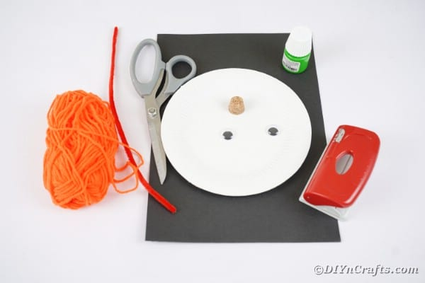 Paper plate witch supplies