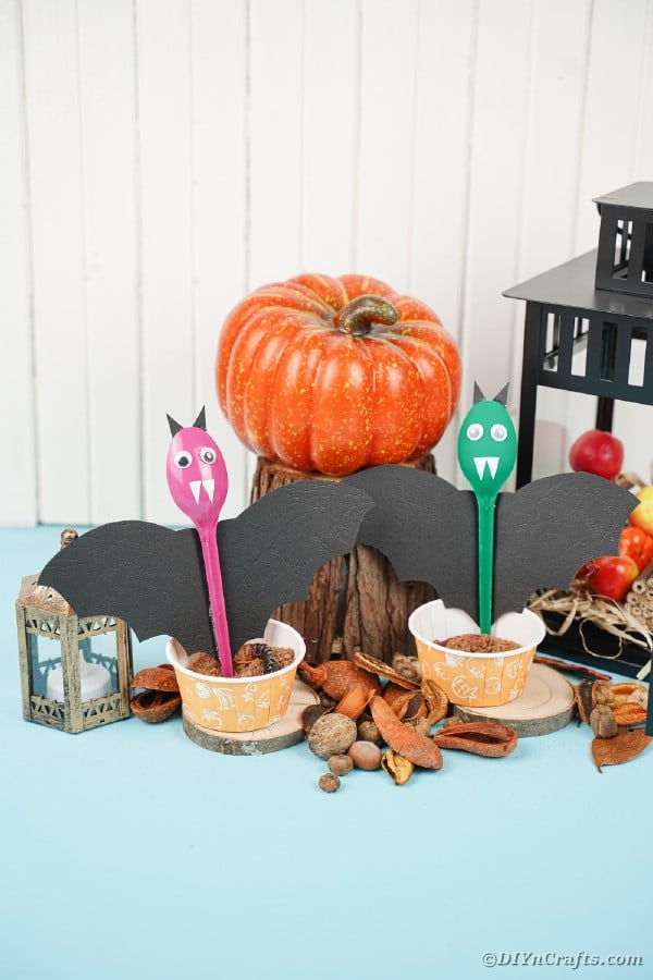 Spoon bats by halloween decorations