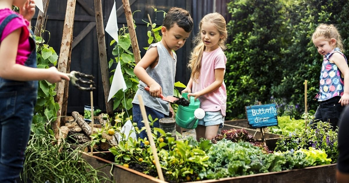 Kids doing gardening together.