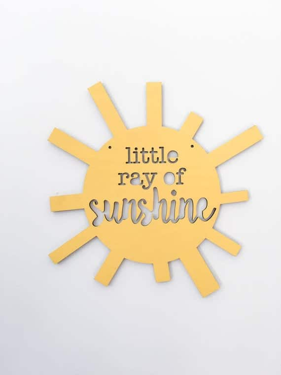 Little Ray of Sunshine wood sign baby nursery decor modern | Etsy