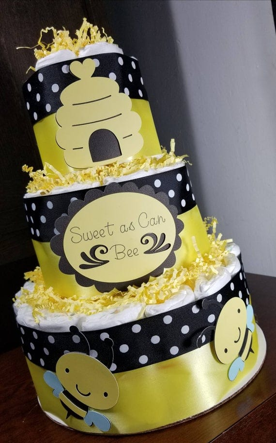 3 Tier Diaper Cake Sweet as Can Bee Bumble Bee Theme Diaper | Etsy