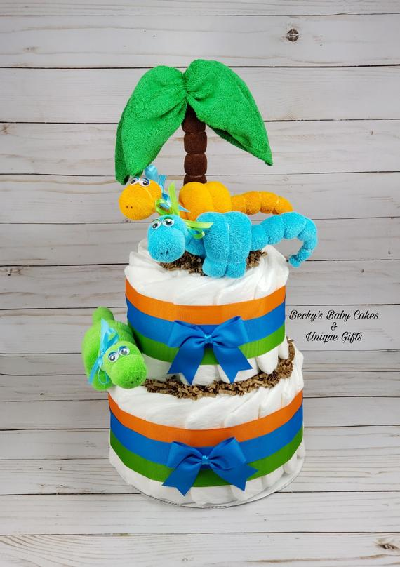 Dinosaur Baby Shower Dinosaur Diaper Cake Dinosaur Party | Etsy