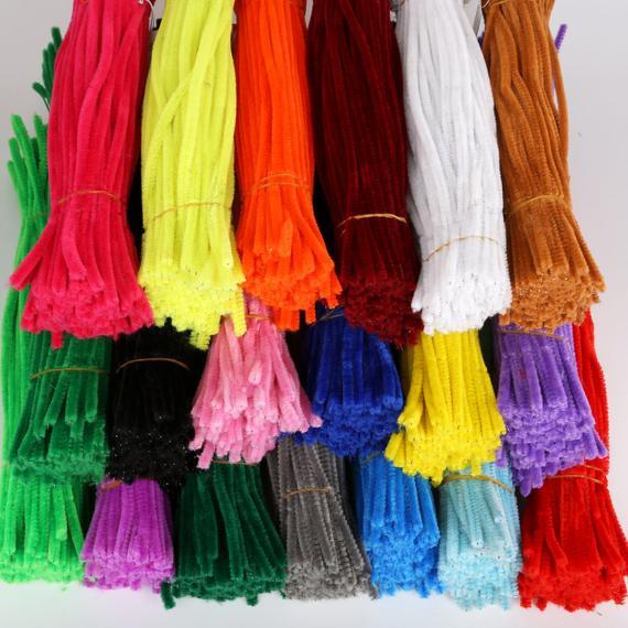 12 PLAIN Chenille PIPE CLEANER 5MM Stems Choose | Etsy