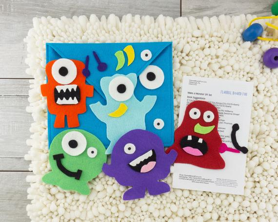 Handmade Monster Felt Board Quiet Activity Toy for Two Year | Etsy