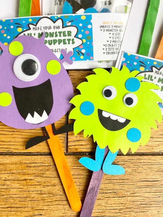 Make Your Own Little Monster Stick Puppet Kit / DIY Monster | Etsy