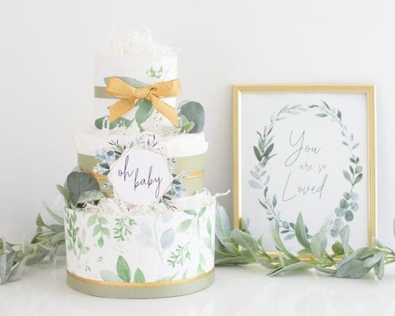 Greenery Baby Shower Decoration Gold Greenery Diaper Cake | Etsy