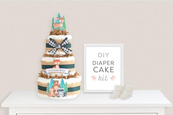 DIY Diaper Cake Kit Woodland Animals Baby Shower Decorations | Etsy