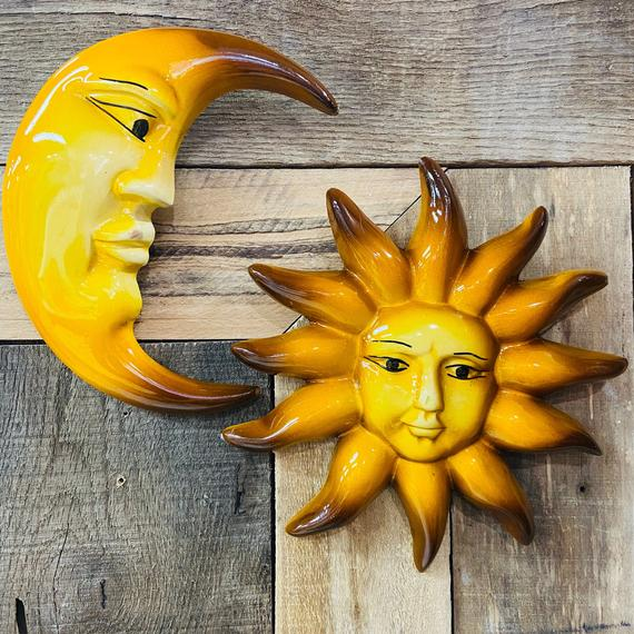 Sun and Moon Set Mexican Clay Home Decor | Etsy