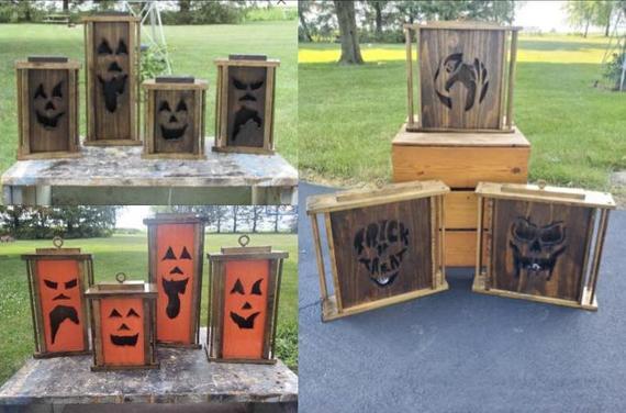 Wooden Pumpkin Lanterns | Etsy