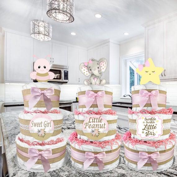Shabby Chic Diaper Cake for a Girl Baby Shower Gift Idea | Etsy