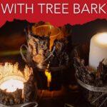 Tree bark lanterns lit on display