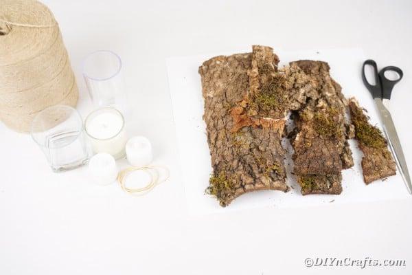 Tree bark lantern supplies