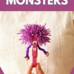 Woman holding purple clothespin monster