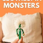 Woman holding green clothespin monster