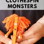 Woman holding orange clothespin monster