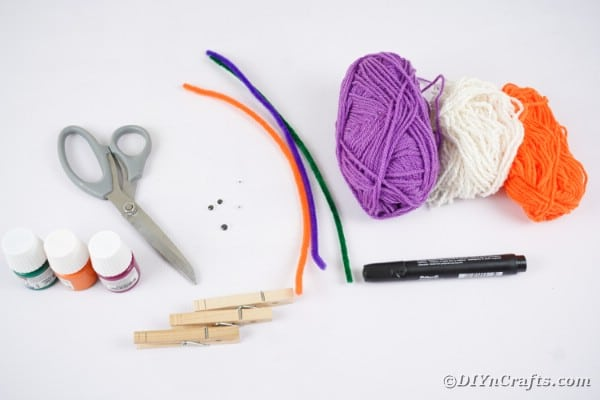 Supplies for clothespin monsters