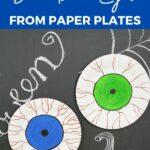 Paper plate bloodshot eyeballs on Halloween chalkboard