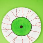 Green eye plate on green surface