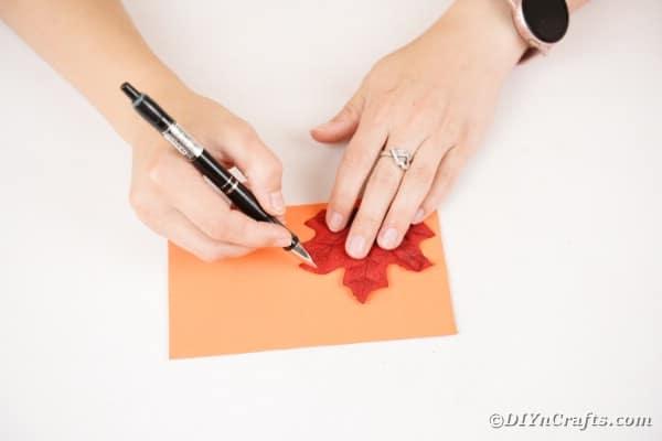 Tracing leaf onto foam paper