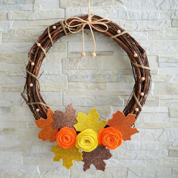 Grapevine wreath against brick wall