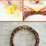 Fall grapevine wreath with flowers collage