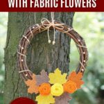 Fall wreath with flowers hanging in tree