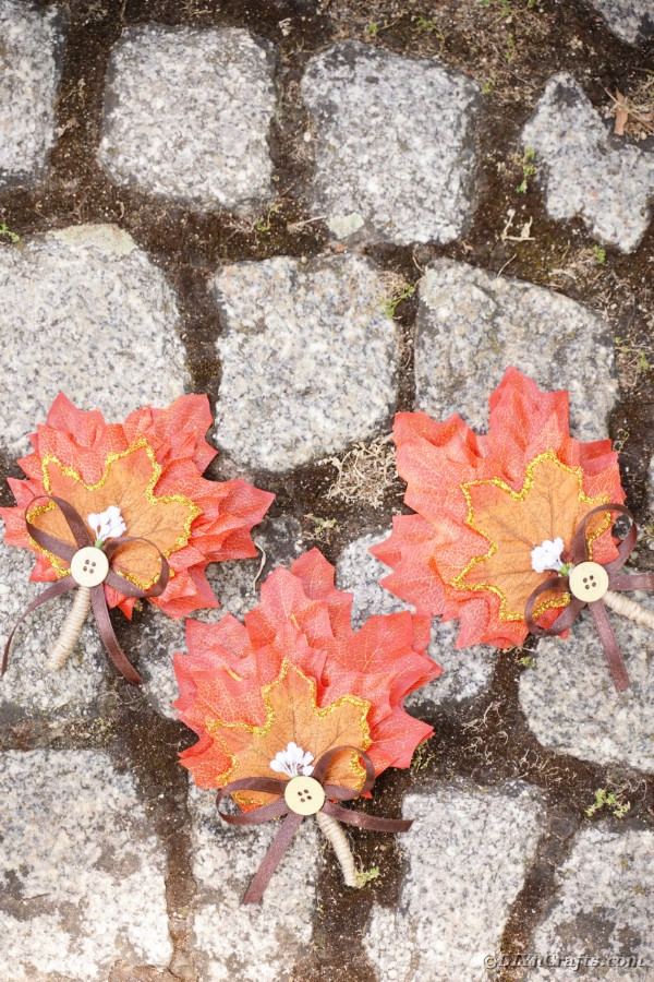 Fall leaf wedding decoration on stone walkway