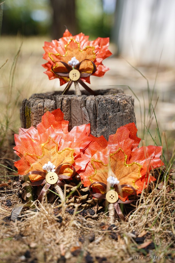 Fall boutonnieres on stump