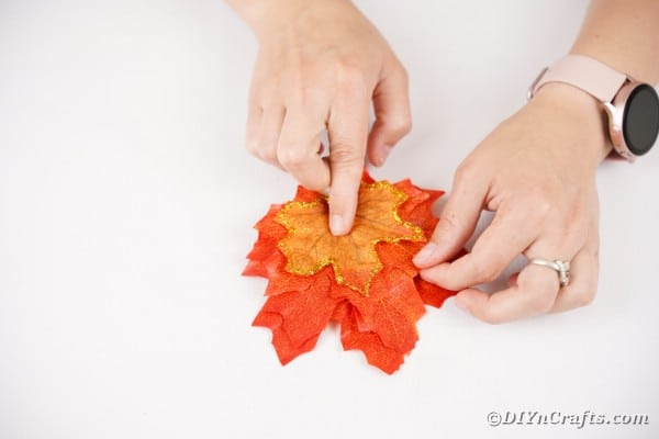 Gluing leaves together