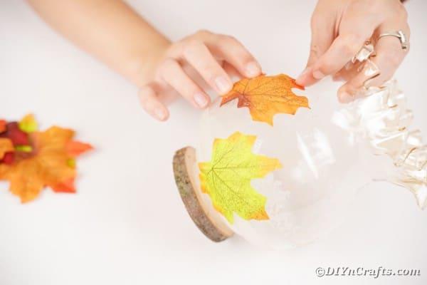 Gluing leaves to jar
