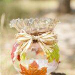 Glass fall lantern on a tree stump