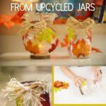Fall leaf lantern collage